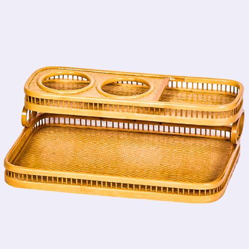 竹编托盘用品盒黄